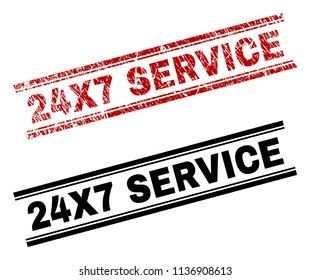 24X7 SERVICE stamp seal print with red distress and clean black version. Red vector rubber print of 24X7 SERVICE label with scratched style. Tags are placed between double parallel lines.