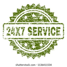 24X7 SERVICE stamp seal watermark with grunge style. Green vector rubber print of 24X7 SERVICE tag with retro texture.