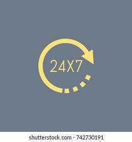 24x7 vector icon