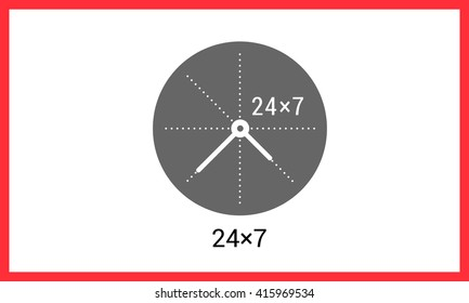24x7 working time contour outline vector icon. Around the clock linear pictogram