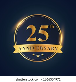 25 anniversary celebration logotype. Golden colored isolated on black blue background, vector design for greeting card and invitation card and celebration event