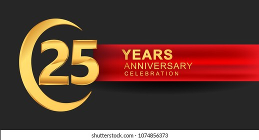 25 anniversary design logotype golden color with ring and red ribbon for anniversary celebration