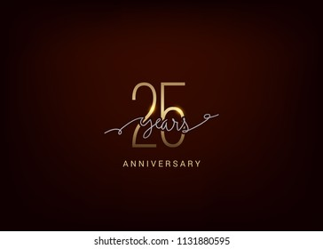 25 Anniversary elegant gold colored isolated on dark background, vector design for celebration, invitation, and greeting card