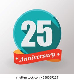 25 Anniversary  label with ribbon. Flat design.