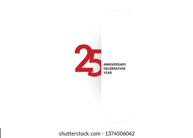 25 anniversary, minimalist logo, jubilee, greeting card. Birthday invitation. Red space vector illustration on white background - Vector