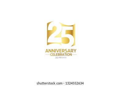 25 anniversary, minimalist logo years, jubilee, greeting card. Birthday invitation.Sign Flag Gold space vector illustration on white background - Vector