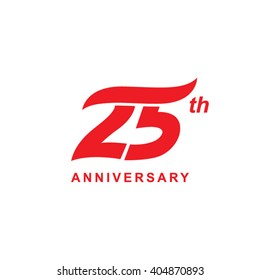 25 anniversary wave logo red