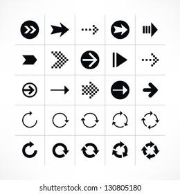 25 arrow sign icon set 03 (black color). Modern simple pictogram minimal, flat, solid, mono, monochrome, plain, contemporary style. Vector illustration web internet design elements saved in 8 eps