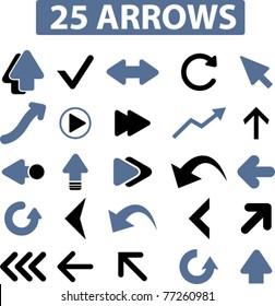 25 arrows icons, signs, vector