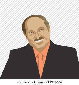 25 august 2014: vector illustration, portrait of Alexandr Lukashenko, president of Belarus