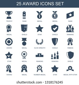 25 award icons. Trendy award icons white background. Included filled icons such as trophy, rank, medal, shield, star, ranking, olive wreath, ribbon. award icon for web and mobile.