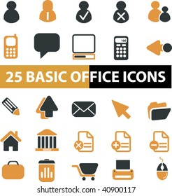 25 basic office icons. vector