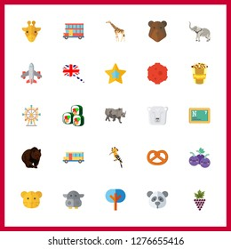 25 big icon. Vector illustration big set. ferris whell and trees icons for big works