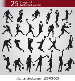25 black images of basketball players on a grey background