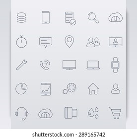 25 business, commerce, line blue icons, vector illustration, eps10, easy to edit