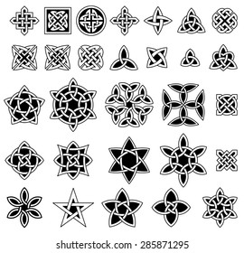 25+ Celtic knots collection (Triquetra (Trinity) knot, Quaternary knot, etc.) for your logo, design or project (vector illustration)
