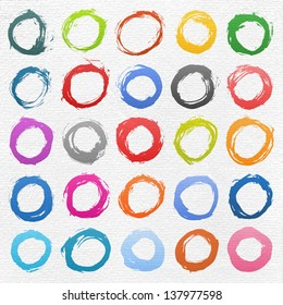 25 circle form brush stroke. Drawing created in ink sketch handmade technique. Colors shapes on white watercolor texture paper background. Vector illustration clip-art design element 10 eps