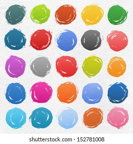 25 circle form brush stroke. Rounded colored shapes on white watercolor texture paper background. Drawing created in ink sketch handmade technique. Vector illustration design element 10 eps