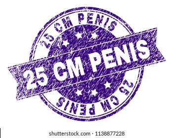 25 CM PENIS stamp seal watermark with grunge texture. Designed with ribbon and circles. Violet vector rubber print of 25 CM PENIS title with corroded texture.