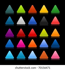 25 colored blank triangle web 2.0 button. Smooth satined shapes with reflection and shadow on black background
