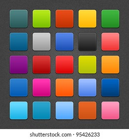 25 colored blank web internet button. Satin rounded square shapes with drop shadow on gray backgrounds with noise texture effect. This vector saved in 10 eps. See more icons and forms in my gallery