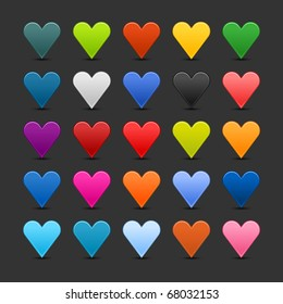 25 colored heart icon web 2.0 buttons with shadow on gray background