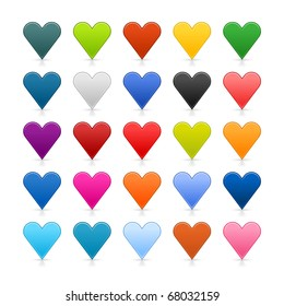 25 colored heart icon web 2.0 buttons with shadow and reflection on white background