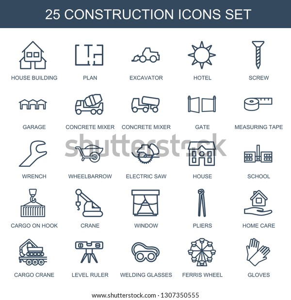 25 Construction Icons Trendy Construction Icons Stock Vector