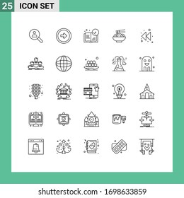 25 Creative Icons Modern Signs and Symbols of chinese; food; user interface; noodle; education Editable Vector Design Elements