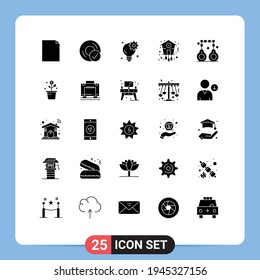 25 Creative Icons Modern Signs and Symbols of handcuffs; timepiece; brainstorm; time; christmas Editable Vector Design Elements