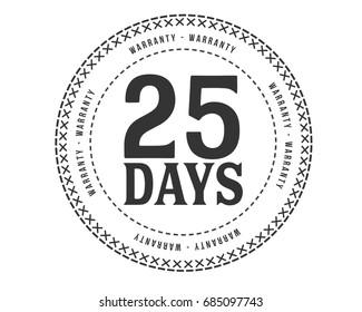25 days warranty icon vintage rubber stamp guarantee