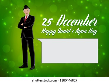 25 December Quaid e Azam Day Nation and World Figure. Person Vector. Quaid e Azam Ali Jinnah. concept a leader in coat pent and saying somthing on green   and white background.