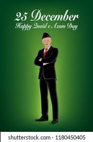 25 December Quaid e Azam Day Nation and World Figure. Person Vector. Quaid e Azam Ali Jinnah. concept a leader in coat pent standing on green gradient  background.