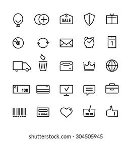 25 different icons for an online shop in linear style