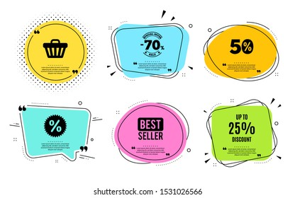 Up to 25% Discount. Best seller, quote text. Sale offer price sign. Special offer symbol. Save 25 percentages. Quotation bubble. Banner badge, texting quote boxes. Discount tag text. Vector