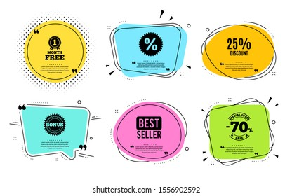 25% Discount. Best seller, quote text. Sale offer price sign. Special offer symbol. Quotation bubble. Banner badge, texting quote boxes. Discount text. Coupon offer. Vector