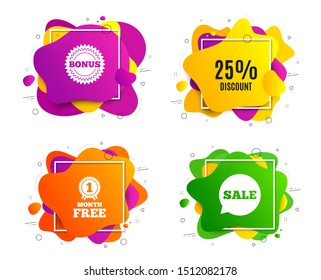 25% Discount. Liquid shape, various colors. Sale offer price sign. Special offer symbol. Geometric vector banner, square frames. Discount text. Gradient shape badge. Vector
