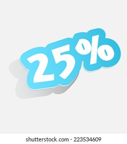 25% Discount price tags twenty-five percent blue stickers with shadow 3d label. vector illustration