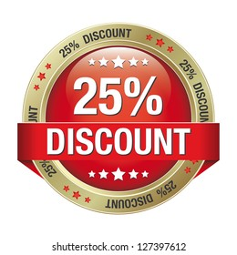 25 discount red gold button isolated background