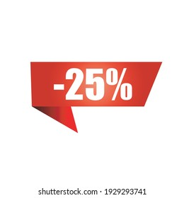 25% discount. Red price tag for online stores. Red sale banner isolated on white background. Design element.