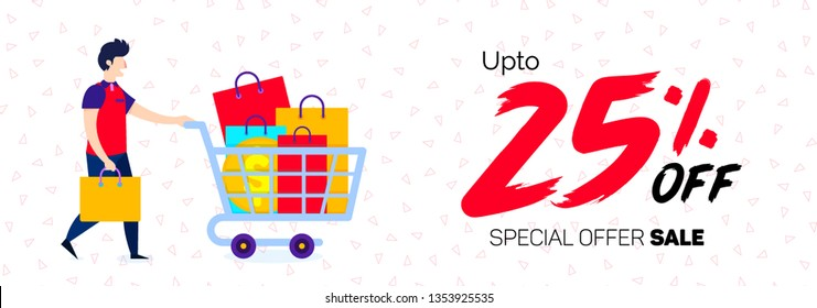 25% Discount Sale Off 25 Percent offer Banner  big offer 25% Offer banner Sale Special Offer Tag Banner Advertising Promotional Poster Design Vector Offers Mobile Fashion Electronics Home Appliances B
