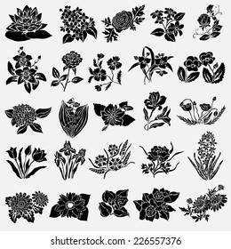 25 elegant decorative flowers, design elements. Floral branches. Floral decorations for vintage wedding invitations, greeting cards, banners.