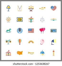 25 festival icon. Vector illustration festival set. united states and ferris whell icons for festival works