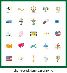 25 festival icon. Vector illustration festival set. ferris whell and trumpet icons for festival works