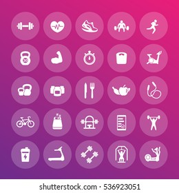 25 fitness icons pack, gym, workout, exercises, training vector pictograms