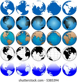 25 global views, variations of the globe, a set of earths, useful as icons
