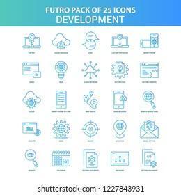 25 Green and Blue Futuro Development Icon Pack
