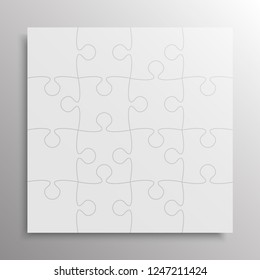 25 Grey Pieces Background Puzzle. Jigsaw Banner. Vector Illustration Template. Puzzle Game, Mosaic Tiles. Puzzles Pieces Children Background. Children Puzzle.