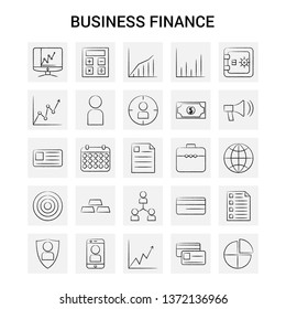 25 Hand Drawn Business Finance  icon set. Gray Background Vector Doodle