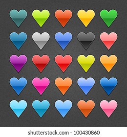 25 heart sign glossy web button. Blank color shape with black drop shadow on dark gray background with noise effect. Vector illustration EPS 10.